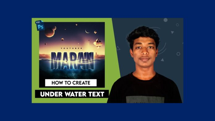 under water text mockup psd free download